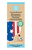 Charlie Banana 3 Diapers Plus 3 Inserts, Patriot, X-Small by Charlie Banana