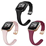 OenFoto Sport Bands Compatible Fitbit Versa/Versa 2 &Versa Lite Edition, Soft Silicone Slim Thin Narrow Small Replacement Wristband Strap for Fitbit Versa Smart Watch, Women Men, Large Small