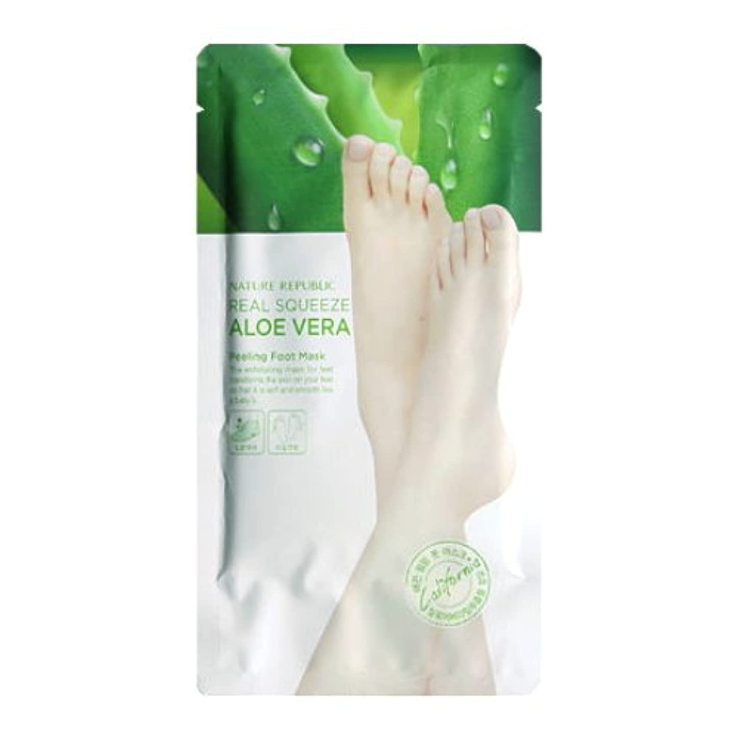 第二雄弁な地域のNATURE REPUBLIC Real Squeeze Aloe Vera Peeling Foot Mask (並行輸入品)