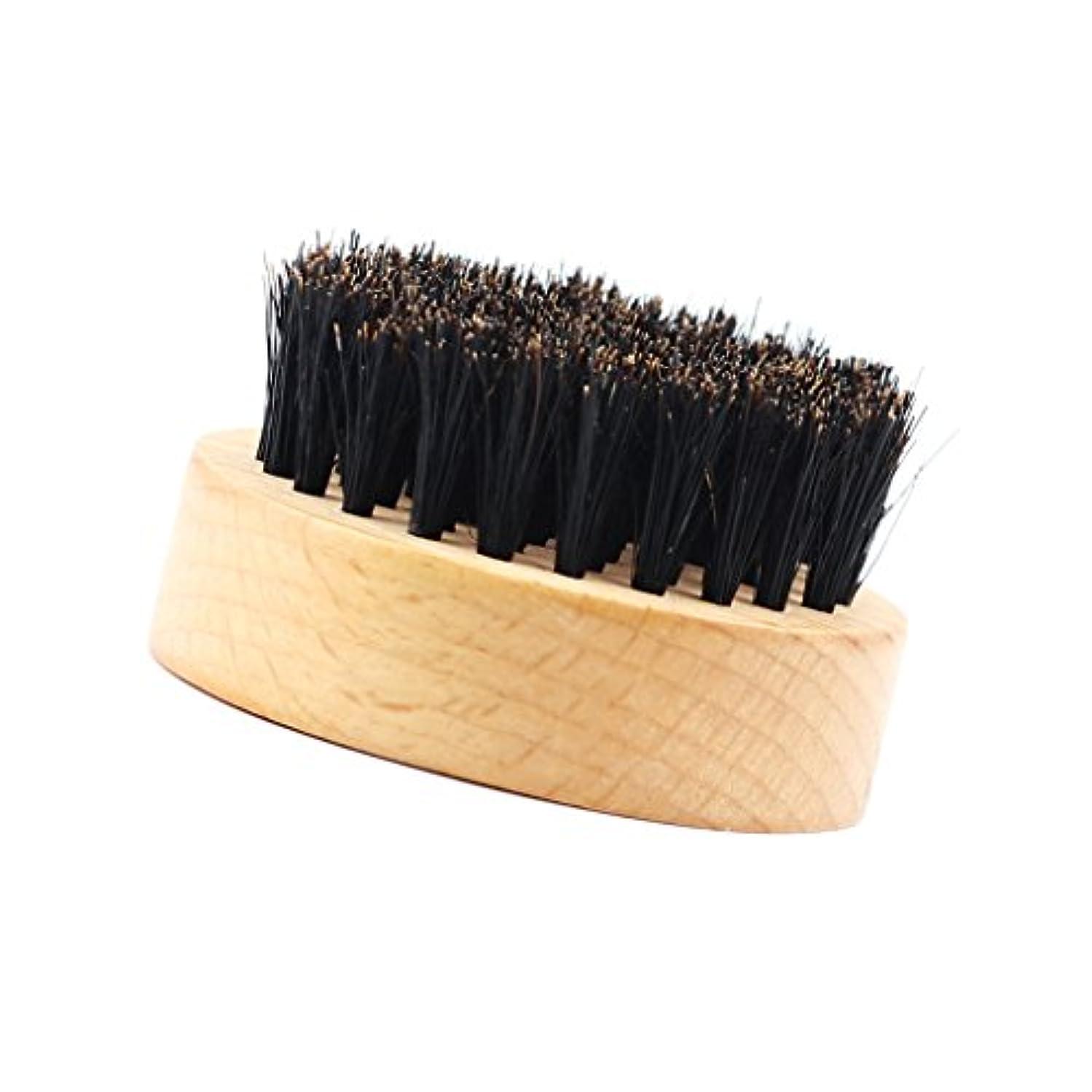 省略する障害促す髭ブラシ ひげ剃り 豚毛 天然木ハンドル 口ひげケア 2タイプ選べる - #2