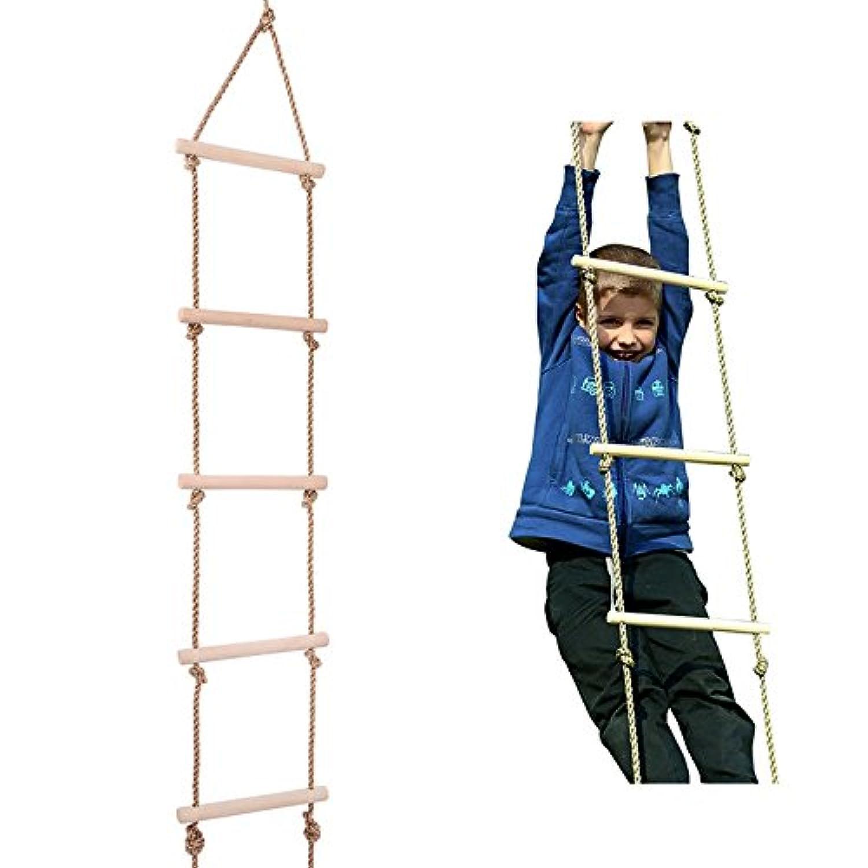 Ysdeal 縄ばしご 屋外 室内 子供の家庭用遊具 はしご 梯子 ラダーロープ 木製 (5段 棒の長さ30CM *直径22MM)