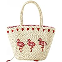 Mogor Women Straw Shoulder Bag A4 Woven Shopping Tote Bag Drawstring Beach Bag Large