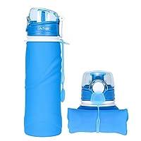 AcTopp アウトドア 折りたたみ式ボトル750ml 携帯式 超軽量 耐冷耐熱 無毒無臭 全4色 (ブル—)
