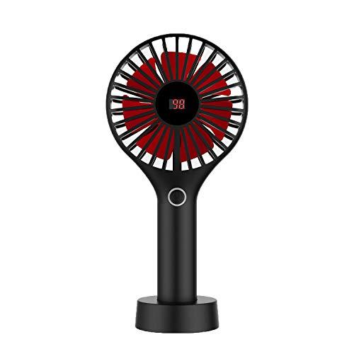 【千円扇風機】Ocean-C 携帯扇風機 (バッテリー残量が一目瞭然) 手持ち扇風機 風量3段階調 小さいのに驚きの風量 USB扇風機 小型USBファン旅行 花火大会 学校 会社 (ブラック)