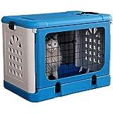 ペットエアボックス車折りたたみポータブルケージ小さな犬小屋猫の巣 68x46x53 (cm) (青)
