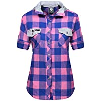 Little Donkey Andy Women's Plaid Long Sleeve Button Down Shirt Jacket Hood