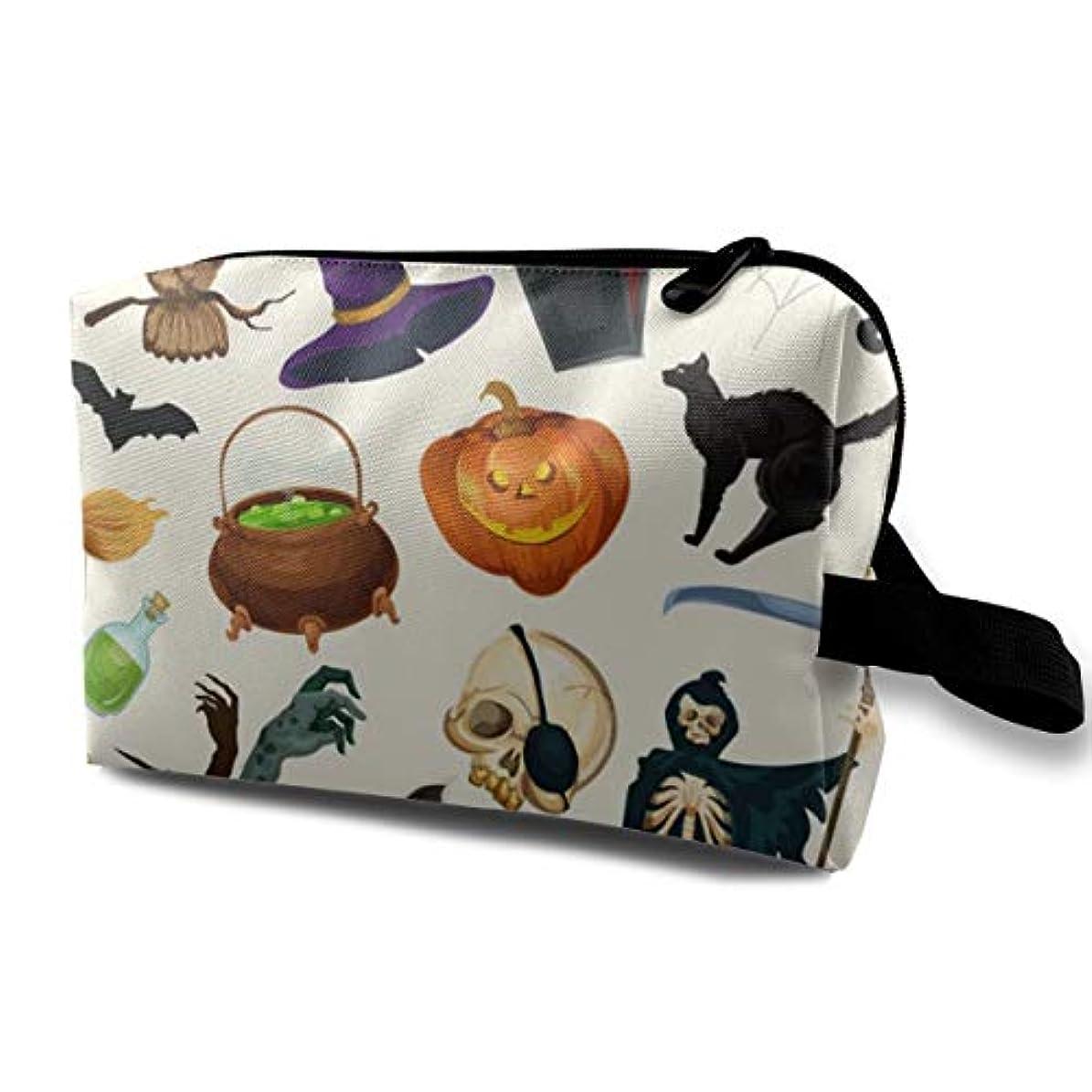 誰でも治療法令Halloween Pumpkin 収納ポーチ 化粧ポーチ 大容量 軽量 耐久性 ハンドル付持ち運び便利。入れ 自宅?出張?旅行?アウトドア撮影などに対応。メンズ レディース トラベルグッズ