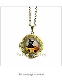 曼荼羅アートネックレス黒猫子猫かぼちゃネックレスペンダントネックレスでレトロなハロウィン?ロケット?ペンダント
