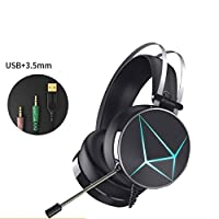 fuleadtureゲーム用ヘッドセットfor ps4Xbox One、PCゲーム用ヘッドセットマイク付きノイズキャンセリングover ear headphones with LEDライト、低音サラウンド、ソフトメモリEarmuffsノートパソコンMac