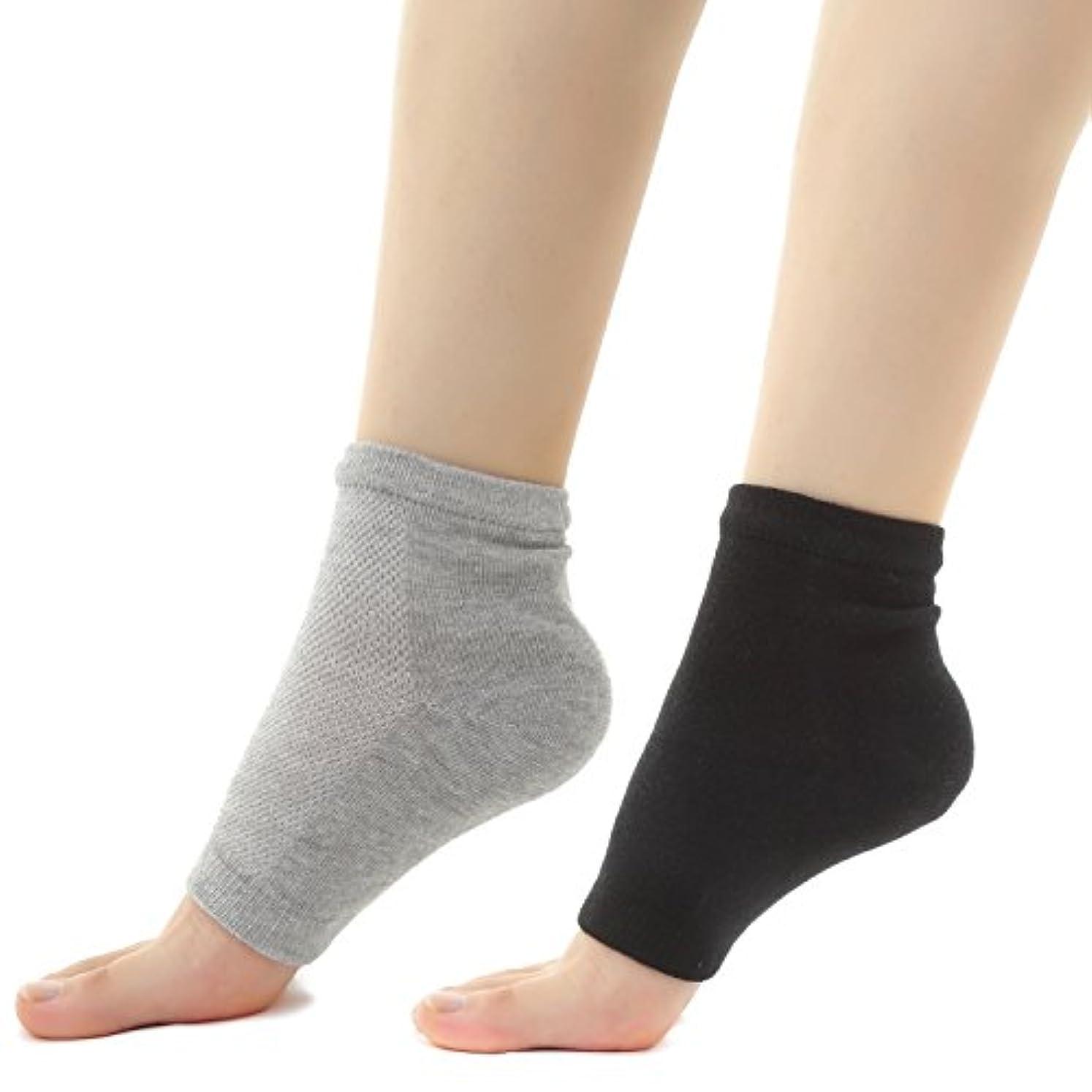 直接ショート福祉Muiles かかと 靴下 ソックス 角質取り 保湿 ひび割れ かかとケア レディース メンズ 男女兼用【1足~3足】(2足セット グレー、ブラック)