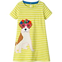 Little Girls Dresses Short Sleeve Cotton Stripe Cartoon Cute Animals Pattern Dress Kids Girls T-Shirt 2-7 Years Old