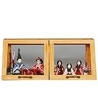 雛人形 木目込み 5人収納飾り ワイドキャビネットセット 幅60cm オーク sb-14-171 雛祭り