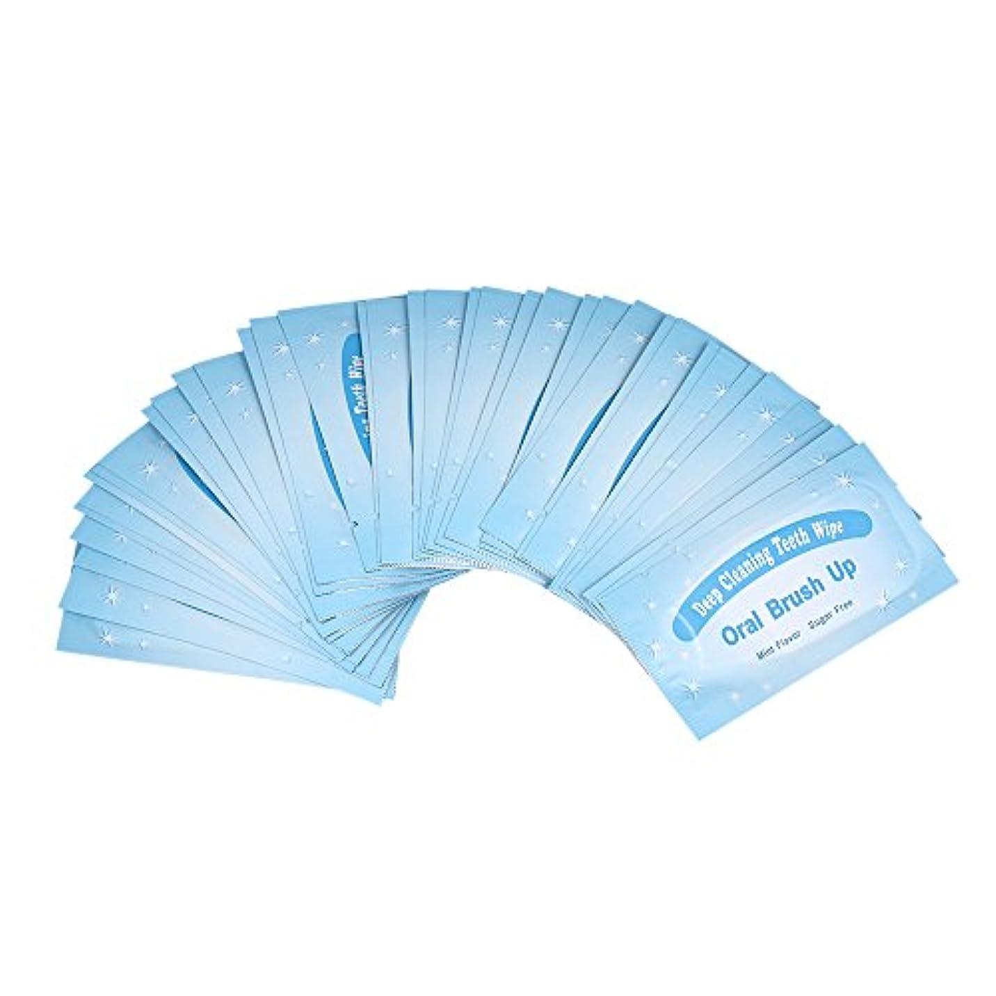 Decdeal 歯ホワイニング 50個 ワイプ歯がブラシ アップワイプ歯科クリーン 歯口腔深部洗浄ツール