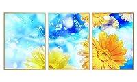 アルミ合金フレーム 印刷する絵画 家の壁の装飾画 クリスタル磁器装飾画 額装絵画(40x56cmx3枚 ゴールドフレーム) ガーベラの花、花びらの水