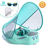 HECCEI Baby Swim Float With Canopy, Non-Inflatable Solid Baby Float, Upgrade Soft Skin-friendly Fabric, With Adjustable Safety Strap, Material Infant Swim Float for Boys and Girls Compatible 13-40 Pounds Infant/Baby/Toddler