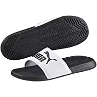 PUMA Men's Popcat Slide Sandal, Black-White