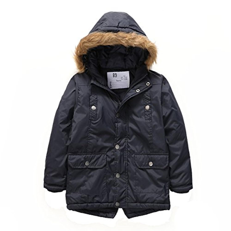 PHIBEE男児 冬の防風綿入れコート フェイクファーパーカー
