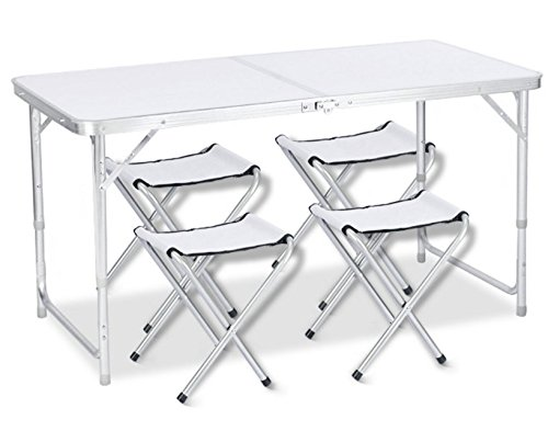 アウトドア 折りたたみ テーブル 120×60×(40-50-70) cm 3WAY 自由に高さ調整可能 ピクニック レジャー キャンプ 用 (銀/チェア×4個付き)