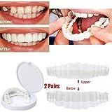 2ペア化粧品歯一時的な笑顔ホワイトニング歯インスタント快適な義歯化粧歯快適な柔軟な歯カバーコレクターパーフェクトスマイルシミュレーション付きボックス