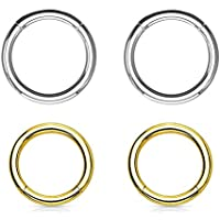 "BodyJewelryOnline Seamless Hinged Segment Ring - Perfect for Lip, Nose, Septum, Ear, Eyebrow & Cartilage Piercings - 14Ga 316L Surgical Steel I.P. Coated - Sold As A 4 Pack (5/16"" (8 Mm))"