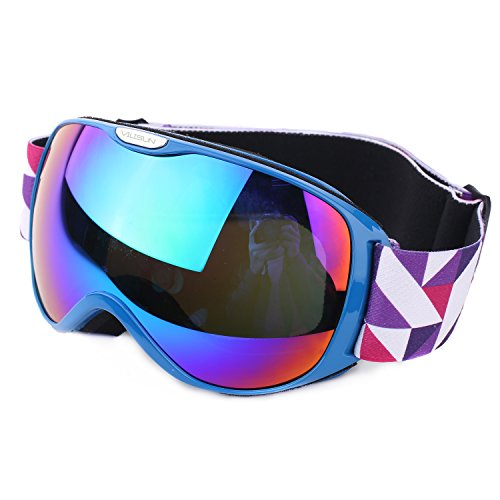 VILISUN スキーゴーグル スノボゴーグル REVOミラー・球面ダブルレンズ 紫外線カット メガネ対応 曇り止め 耐衝撃/防塵/防風/防雪 すべり止め 3層スポンジ スノーボード スキー・登山・アウトドア 子供 大人 (キッズ用ブルー)