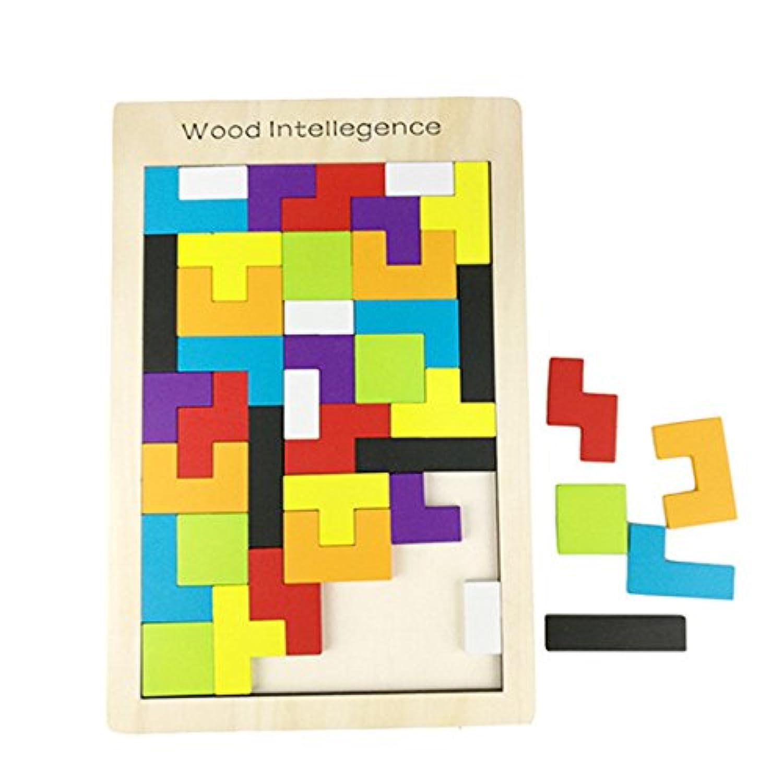 木製テトリスインテリジェンスパズル、木製ジグソーパズルのおもちゃ、教育ゲーム( 40ピース)