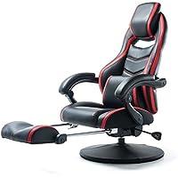 サンワダイレクト オットマン付 ゲーミング座椅子 360度回転 160度リクライニング ハイバック 可動肘 ヘッドレスト 耐荷重100kg 150-SNCF006