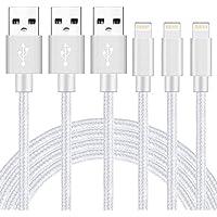 GUIGUI ライトニング ケーブル 【3本セット 1M】 USB Lightning ケーブル 充電 8Pin ナイロン編み 小型ヘッド設計 急速充電 iPhone X/iPhone 8/8 Plus/iPhone 7/7 Plus/6s/6s Plus/5S/SE/iPad/iPod - シルバー