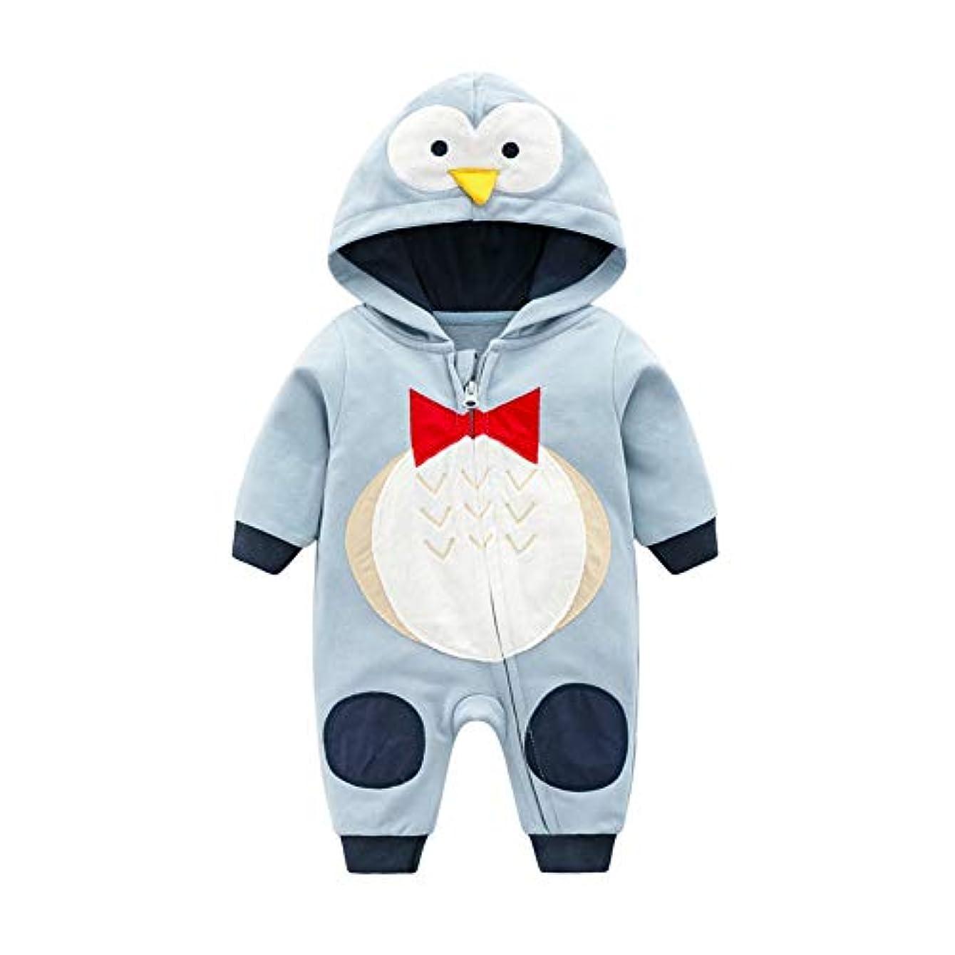 さまよう効率消化ACHICOO ロンパース コスチューム 暖かい コットン ベビージャンプ スーツ パーカー オーバーオール服 恐竜 新生児 子供 女の赤ちゃん 男の子 ウォーターブルーペンギン 73CM