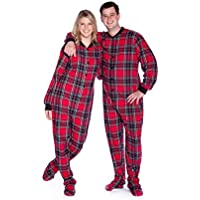 BIG FEET PAJAMA CO. Red & Black Plaid Cotton Flannel Adult Footie Onesie Footed Pajamas with Drop seat for Men and Women