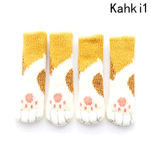4 pcs/Set Knitted Dining Table Chair Leg Socks Stool Mat Protective Case Chair Booties Stool Socks Protective Sleeve, White