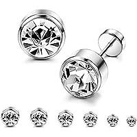 ORAZIO 6 Pairs Stainless Steel CZ Stud Earrings for Women Girls Cartilage Stud Earrings Screwback Silver Tone 3-8mm