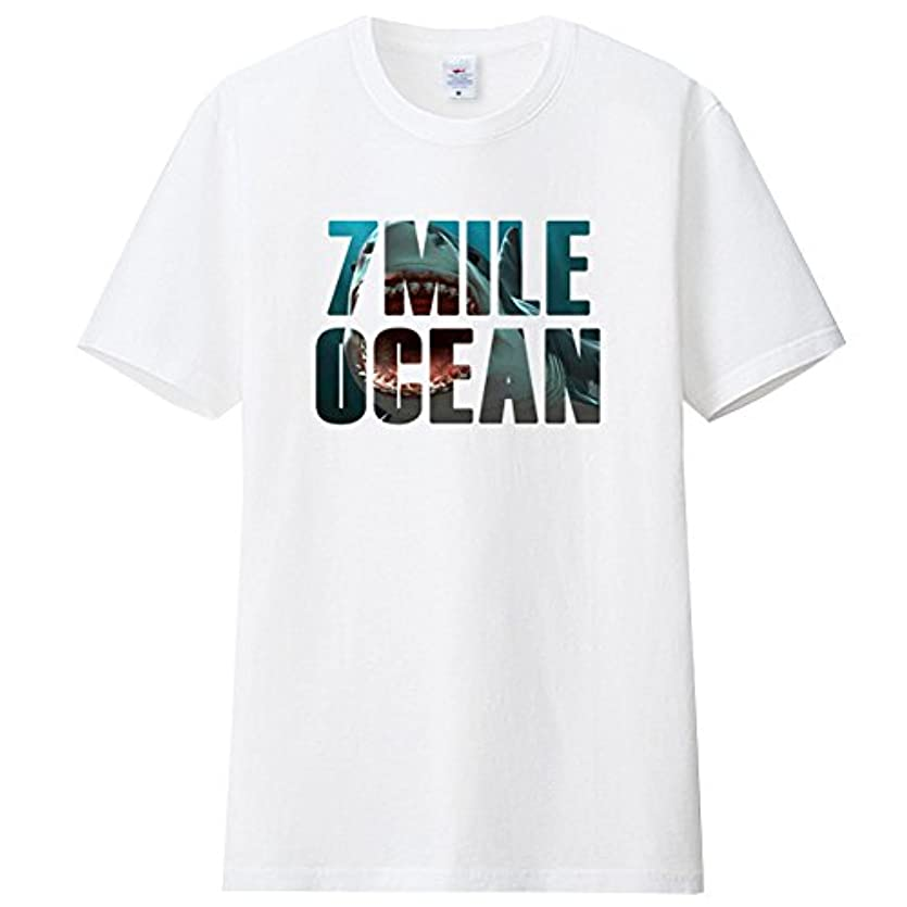 アラブサラボ要件テロ7MILE OCEAN メンズ 半袖 Tシャツ プリント クルーネック ヘビーウェイト シャーク サメ 鮫 ジョーズ ロゴ 白 グレー 黒 ピンク パープル 通販限定 S M L 2L 3L 4L 大き目 大きい サイズ...