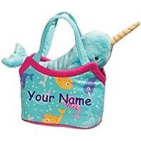 (Personalized Narwhal Sassy Sak) - Personalised Douglas Teal and Pink Narwhal Sassy Kidz Fashion Pet Sak Stuffed Animal Toy with Bag