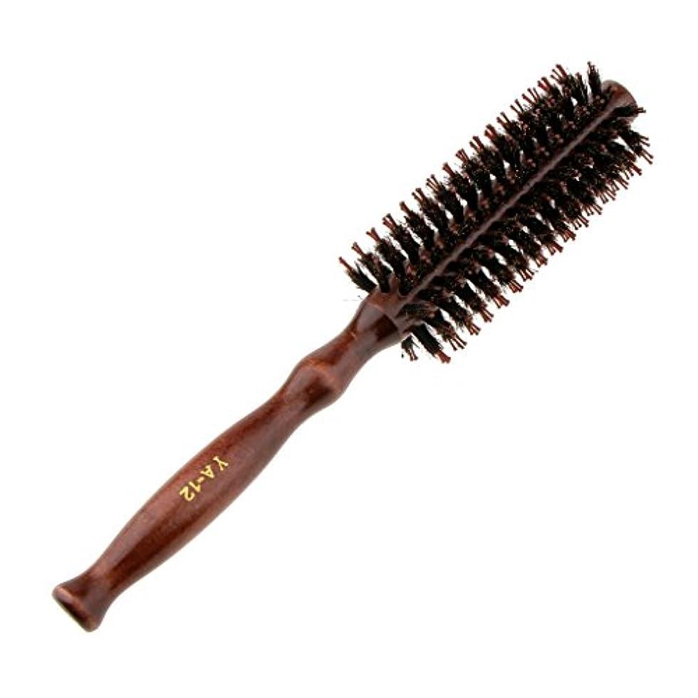 会話印刷する援助ロールブラシ ヘアブラシ ラウンド ウッド ハンドル 理髪 美容 カール 2タイプ選べる - #2