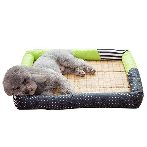 COLOGOペットベッド ひんやり 小型犬 中型犬 犬猫用 夏 猫座布団 冷感マット 寝床 熱中症 暑さ対策 耐噛み 涼しい ぐっすり眠れる(グリーン、L)