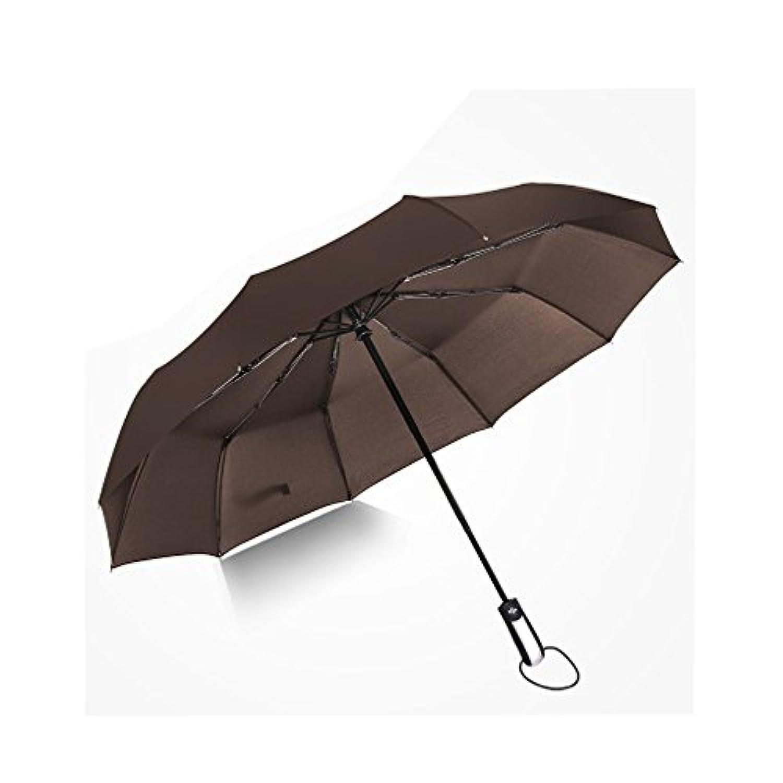 折り畳み傘 Hangrui ワンタッチ自動開閉 10本骨 210T高強度グラスファイバー 超撥水 大型(118cm)晴雨兼用 男女兼用 軽量楽々 収納ケース付 (Brown)