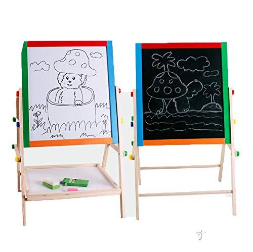 お絵描きボード 子供用 両面木製イーゼル ボード 黒板 看板 ホワイトボード 子ども落書き  マーカーペン&チョークボード3歳~10歳へのプレゼント 入学祝い 知育学習玩具