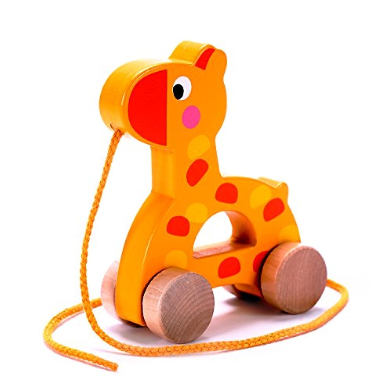 かわいらしい木製キリン 引っ張るおもちゃ プルトイ 赤ちゃん/幼児用 簡単に転がる 頑丈なひき紐付き 代表的な知育玩具 1&2歳 男女共用