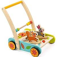 木製ベビー学習ウォーカー幼児用おもちゃの1年古いブロックとロールカートプッシュand Pull Toy ( 33pcs )