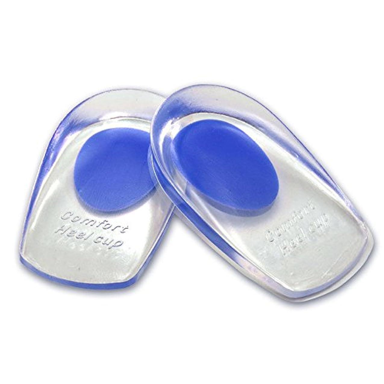 遠征身元比較的シリコンヒールカップ かかとの痛み防止に ソフトシリコン製 インソールクッション 衝撃緩和 立体形状 フィット感抜群 FMTMXCA2S (ブルー(靴サイズ24.5~27.5cm用))