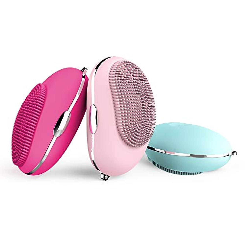 顔料高度なポーチZXF 新電気防水シリコーンクレンジングブラシ超音波振動ポータブルクレンジング楽器マッサージ器美容器械 滑らかである (色 : Blue)
