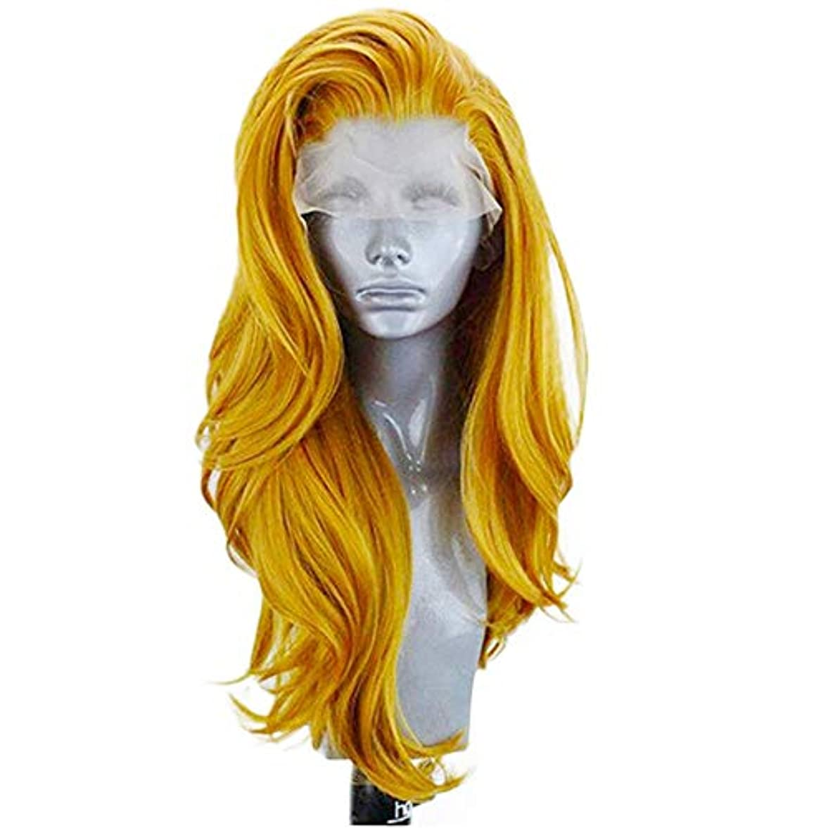 放棄エレベーターチロZXF フロントバッドシルクスクリーンヨーロッパとアメリカのファッションゴールドレディースウィッグ26インチ大波長い巻き毛の化学繊維フード高密度 美しい