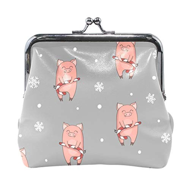 AOMOKI 財布 小銭入れ ガマ口 コインケース レディース メンズ レザー 丸形 おしゃれ プレゼント ギフト デザイン オリジナル 小物ケース ピッグ 豚柄 雪柄