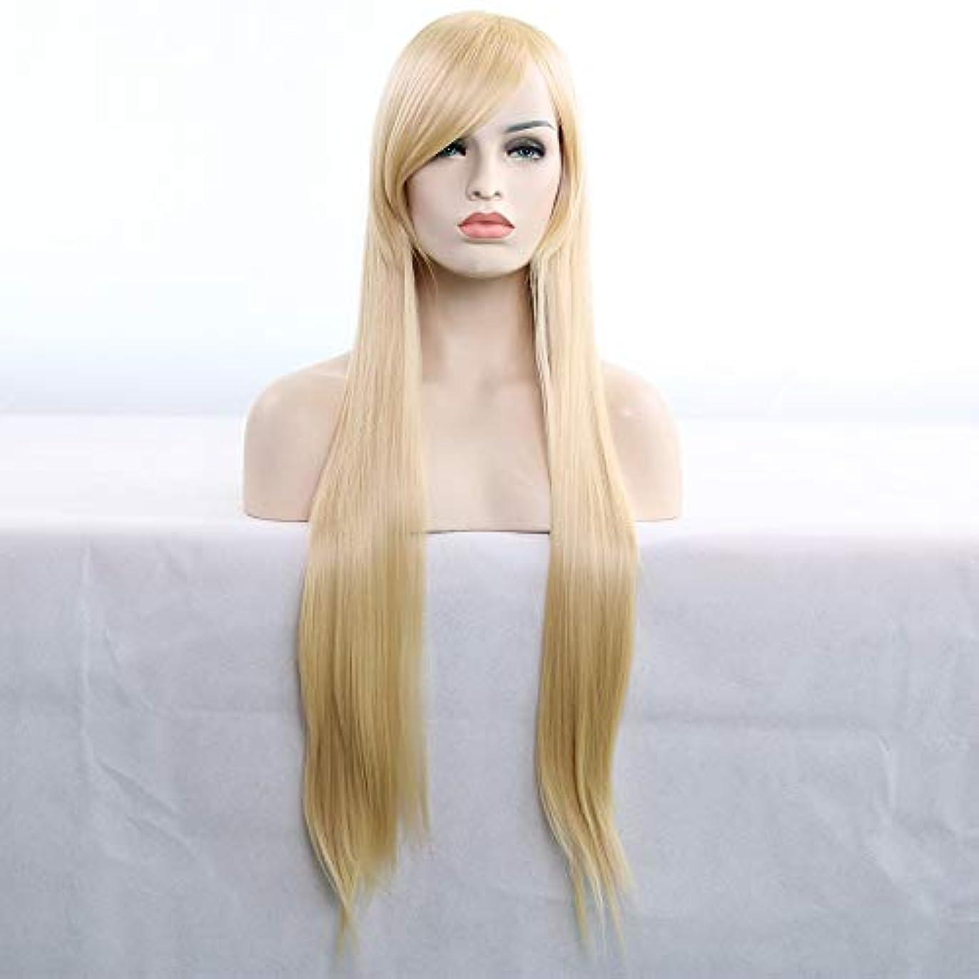 言う歌詞装置女性用ロングナチュラルストレートヘアウィッグ31インチ人工毛替えウィッグハロウィンコスプレ衣装アニメパーティーウィッグ(ウィッグキャップ付き) (Color : Light gold)