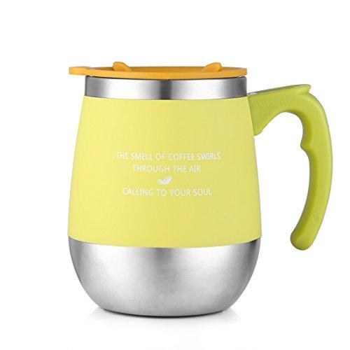 ONEISALL 450ML マグカップ 保温 マグカップ 父の日 ギフト 蓋つきマグカップ おしゃれ 大容量 ステンレス コーヒー用ボトル 麦茶 フタ付きマグ 彼女、彼氏にプレゼント 恋人 学生にギフト 結婚周年 学生にギフト(green)
