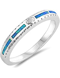 Blue Simulated Opal Christian Greek Cross Ring Sterling Silver Accent Band Sizes 5-10