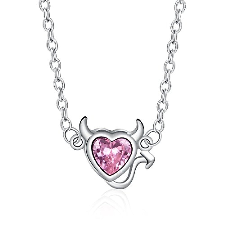 BISAER Sterling Silver CZ Pink Devil Heart Necklace For Women 悪魔の心 デビル ハート 小悪魔 シルバーネックレス ピンクCZ付