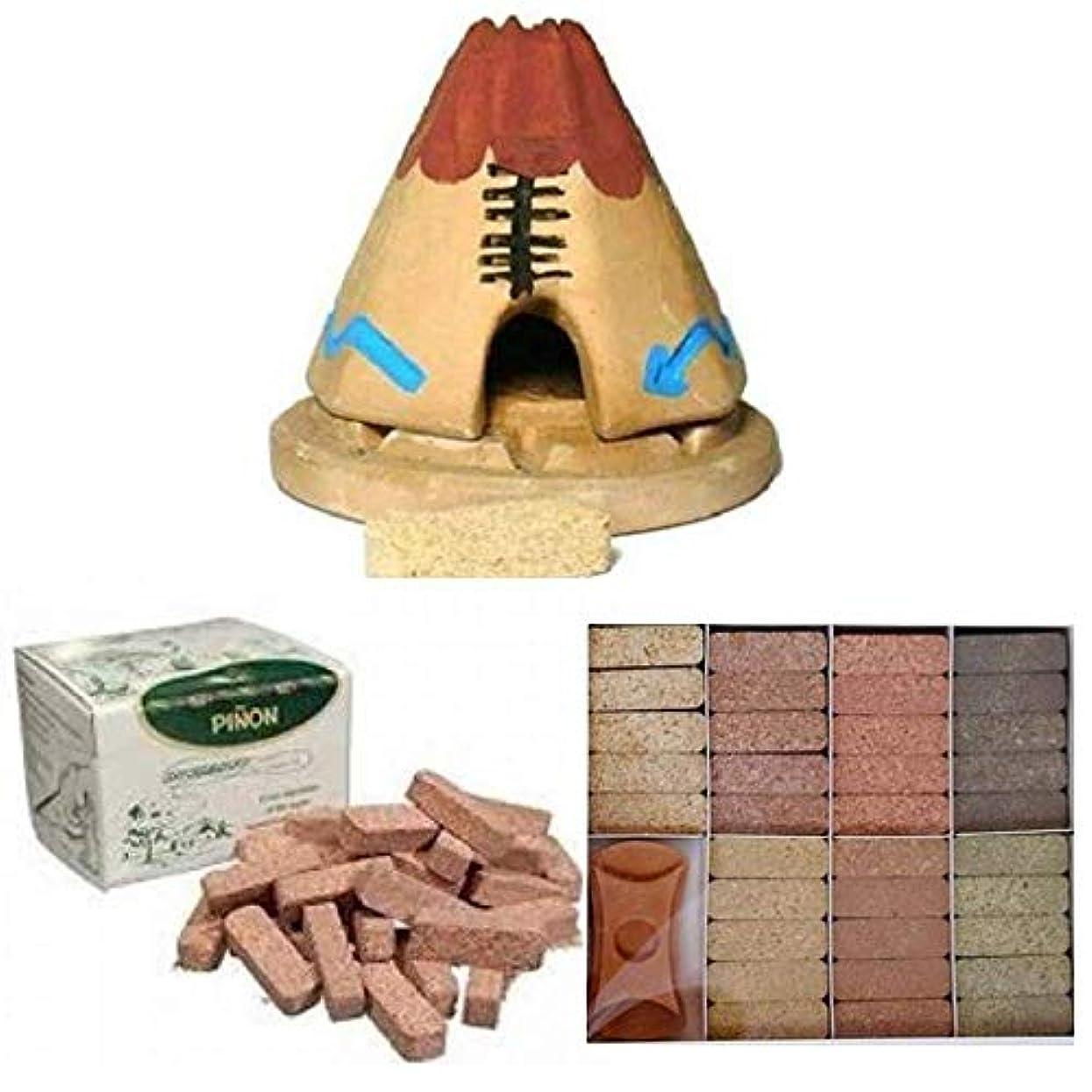 フック余剰ラフトTeepee Incense Burner with 20 Pinon Natural Wood Incense, 40 Pinon Natural Wood Incense, 7 Scent Sampler Wood...