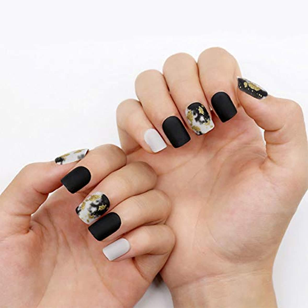 染料包帯上院ネイルチップ 12サイズ 夏の 優雅 黒 つけ爪 ネイル用品 ショート デコレーション 無地 付け爪